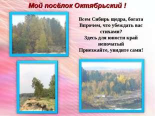 Мой посёлок Октябрьский ! Всем Сибирь щедра, богата Впрочем, что убеждать вас