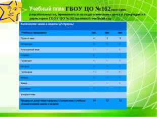 Учебный план ГБОУ ЦО №162 ежегодно разрабатывается, принимается на педагогиче