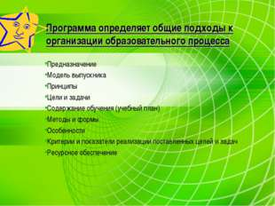 Программа определяет общие подходы к организации образовательного процесса Пр