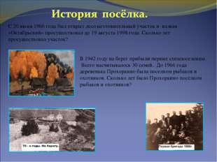 С 20 июня 1966 года был открыт лесозаготовительный участок и назван «Октябрьс