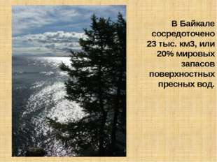 В Байкале сосредоточено 23 тыс. км3, или 20% мировых запасов поверхностных пр