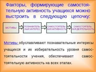 Факторы, формирующие самостоя-тельную активность учащихся можно выстроить в с