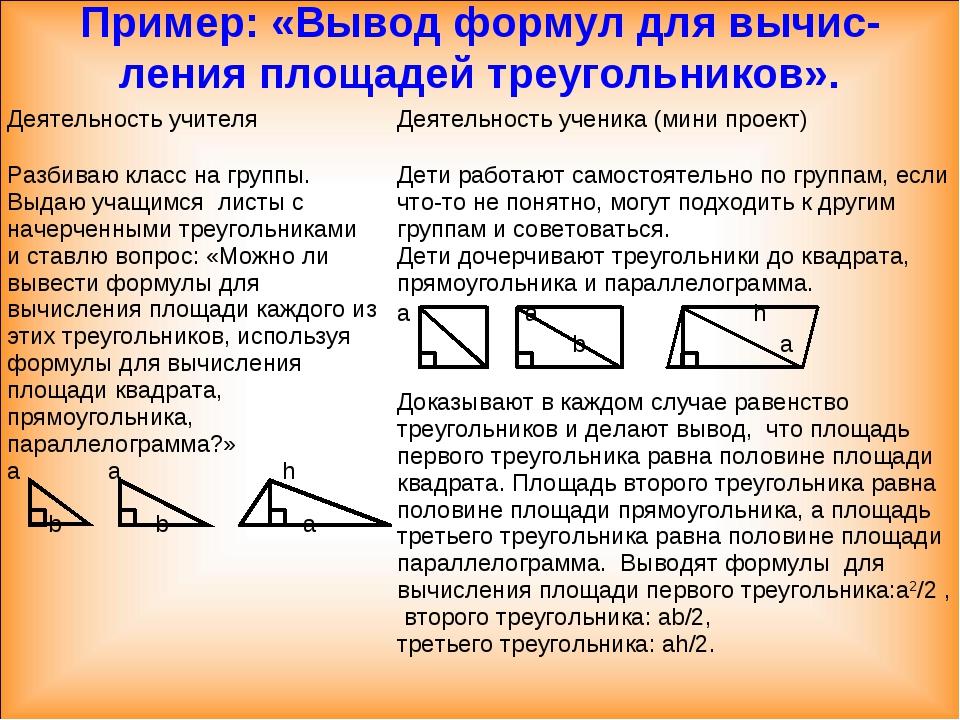 Пример: «Вывод формул для вычис-ления площадей треугольников». Деятельность у...