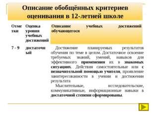 Описание обобщённых критериев оценивания в 12-летней школе ОтметкиОценка уро