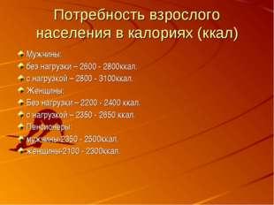 Потребность взрослого населения в калориях (ккал) Мужчины: без нагрузки – 260