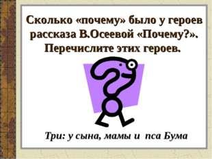 Сколько «почему» было у героев рассказа В.Осеевой «Почему?». Перечислите этих