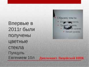 Впервые в 2011г были получены цветные стекла Пунцуль Евгением 10л Дипломант Л
