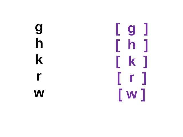 g h k r w [ g ] [ h ] [ k ] [ r ] [ w ]