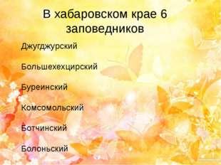 В хабаровском крае 6 заповедников Джугджурский Большехехцирский Буреинский Ко