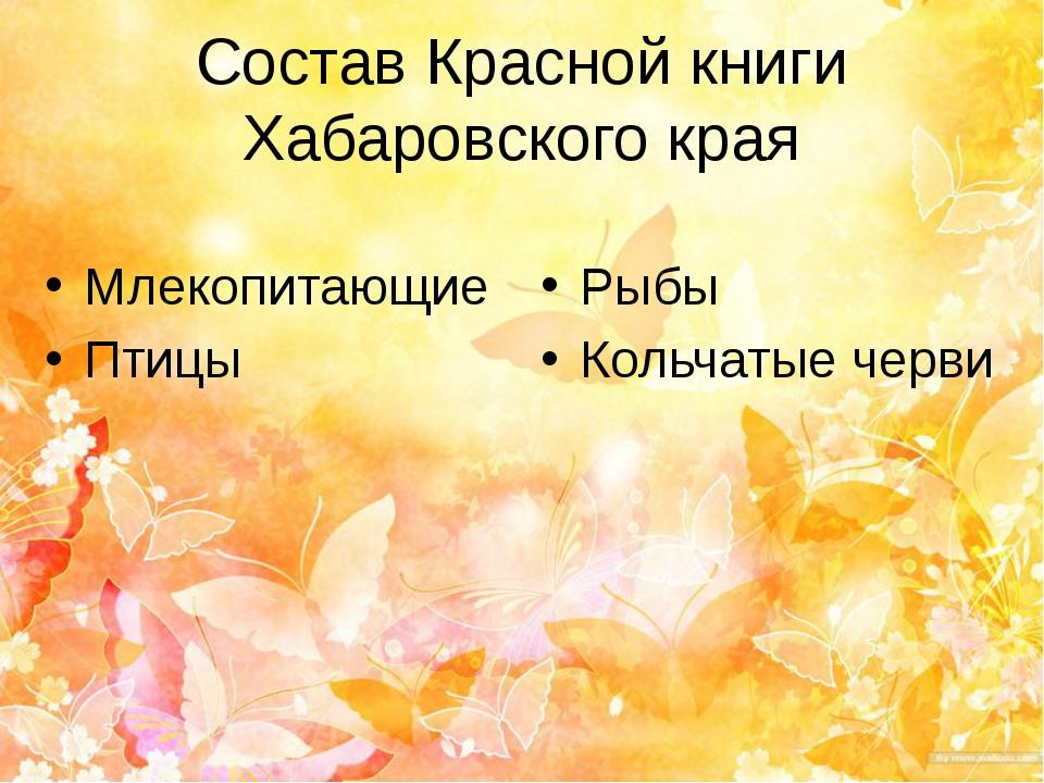 Состав Красной книги Хабаровского края Млекопитающие Птицы Рыбы Кольчатые черви