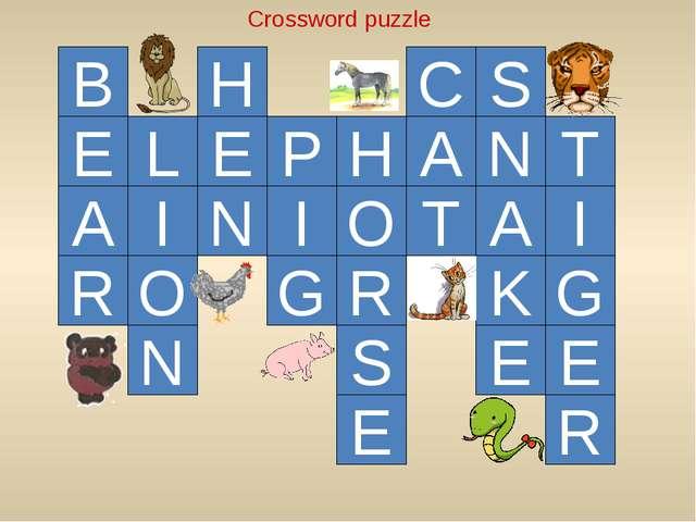 E L I O N E H N B A R I P H G O R S E A C T S N A K E T I G E R Crossword puz...