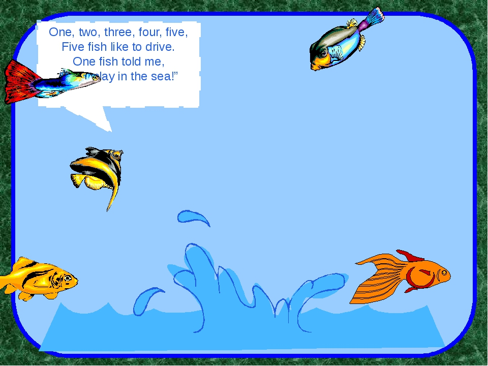 """One, two, three, four, five, Five fish like to drive. One fish told me, """"Let..."""