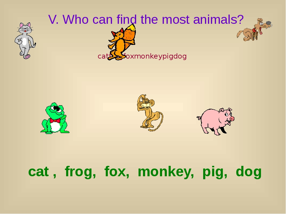 V. Who can find the most animals? catfrogfoxmonkeypigdog cat , frog, fox, mon...