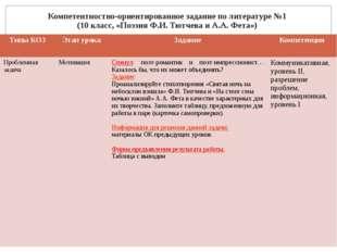 Компетентностно-ориентированное задание по литературе №1 (10 класс, «Поэзия Ф