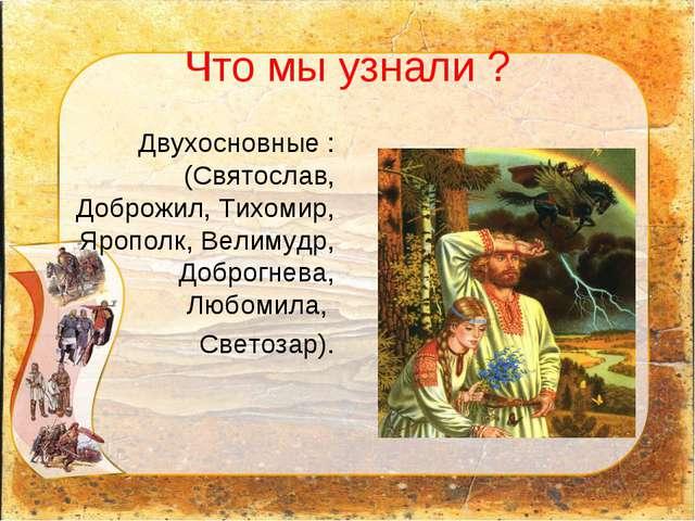 Что мы узнали ? Двухосновные : (Святослав, Доброжил, Тихомир, Ярополк, Велиму...
