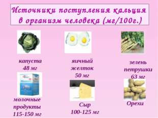 Источники поступления кальция в организм человека (мг/100г.) молочные продукт