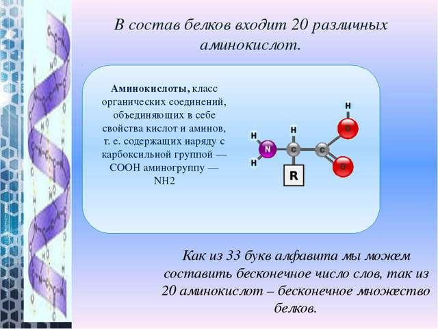 В состав белков входит 20 различных аминокислот. Как из 33 букв алфавита мы м...