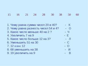 Чему равна сумма чисел 20 и 40? - К 2. Чему равна разность чисел 54 и 4? - О
