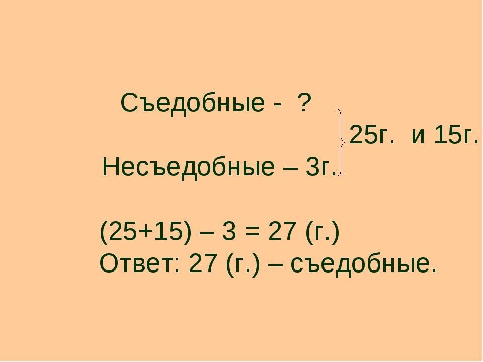 Съедобные - ? 25г. и 15г. Несъедобные – 3г. (25+15) – 3 = 27 (г.) Ответ: 27 (...