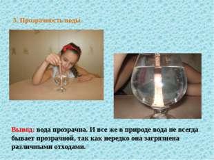 3. Прозрачность воды Вывод: вода прозрачна. И все же в природе вода не всегда