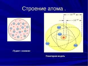 Строение атома . «Пудинг с изюмом» Планетарная модель