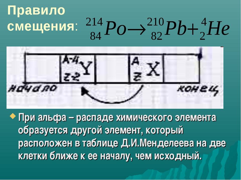 При альфа – распаде химического элемента образуется другой элемент, который р...