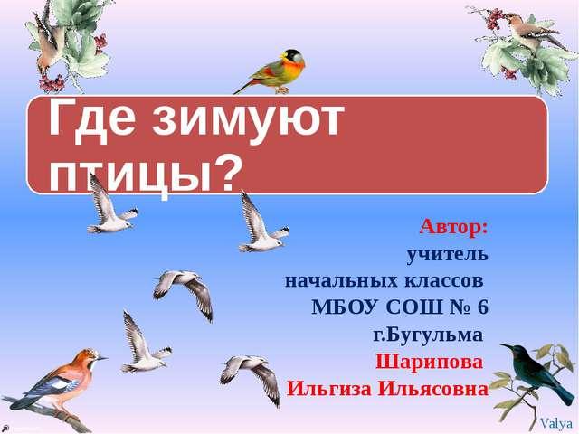 Автор: учитель начальных классов МБОУ СОШ № 6 г.Бугульма Шарипова Ильгиза Ил...