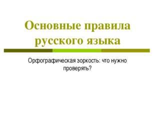 Основные правила русского языка Орфографическая зоркость: что нужно проверять?