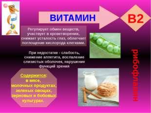 ВИТАМИН B2 рибофлавин Регулирует обмен веществ, участвует в кроветворении, сн