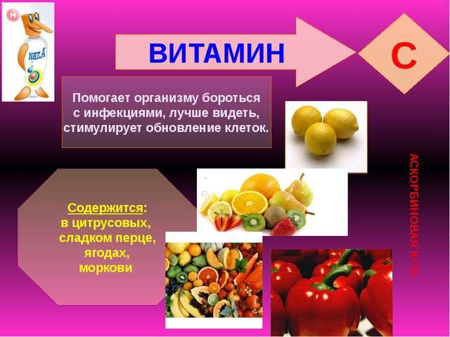 ВИТАМИН C АСКОРБИНОВАЯ К-ТА Помогает организму бороться с инфекциями, лучше в...