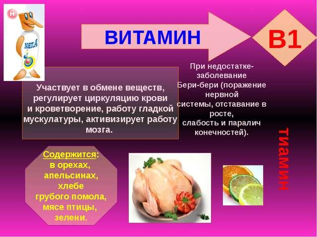 ВИТАМИН B1 тиамин При недостатке- заболевание Бери-бери (поражение нервной си...