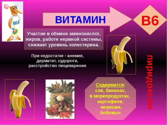 ВИТАМИН B6 пиридоксин Участие в обмене аминокислот, жиров, работе нервной сис...