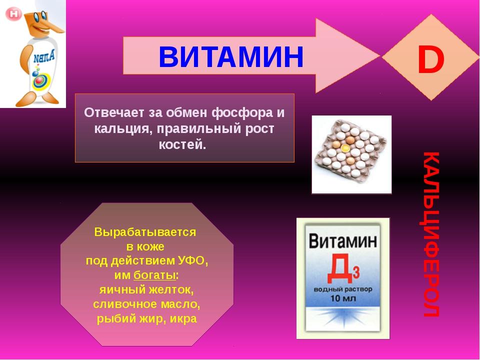 ВИТАМИН D КАЛЬЦИФЕРОЛ Отвечает за обмен фосфора и кальция, правильный рост ко...
