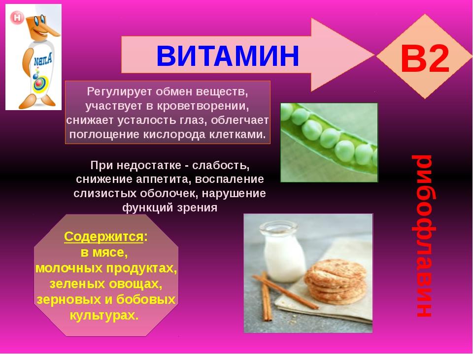 ВИТАМИН B2 рибофлавин Регулирует обмен веществ, участвует в кроветворении, сн...