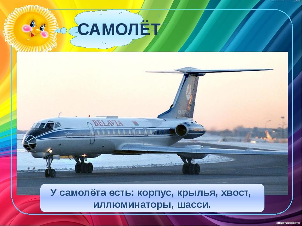 САМОЛЁТ У самолёта есть: корпус, крылья, хвост, иллюминаторы, шасси.