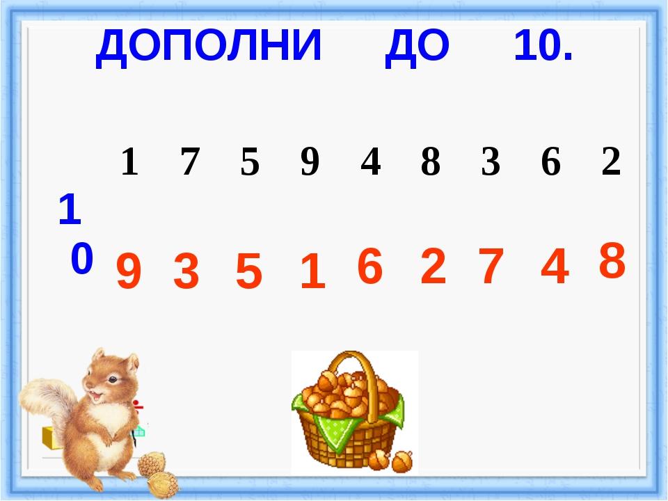 ДОПОЛНИ ДО 10. 9 3 5 1 6 2 7 4 8 10 1 7 5 9 4 8 3 6 2