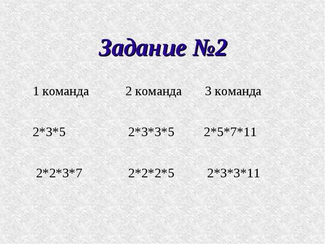 Задание №2 1 команда 2 команда 3 команда 2*3*5 2*3*3*5 2*5*7*11 2*2*3*7 2*2*2...