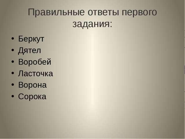 Правильные ответы первого задания: Беркут Дятел Воробей Ласточка Ворона Сорока