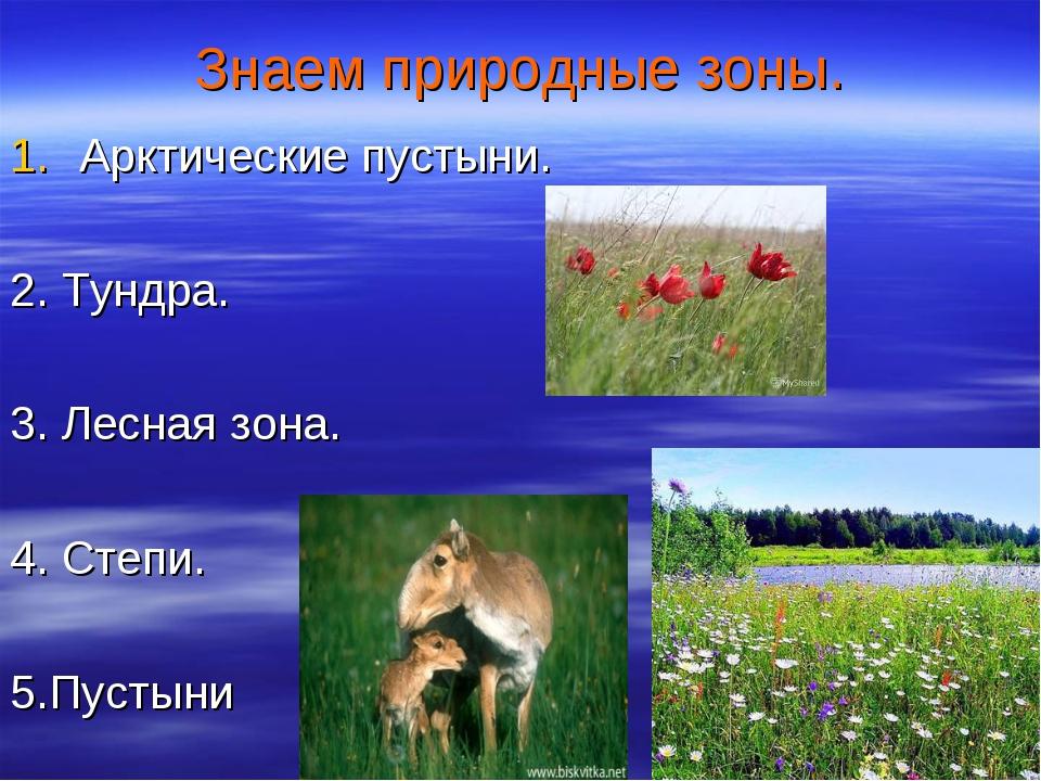 Знаем природные зоны. Арктические пустыни. 2. Тундра. 3. Лесная зона. 4. Степ...