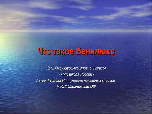 Что такое Бенилюкс Урок Окружающего мира в 3 классе «УМК Школа России» Автор:...