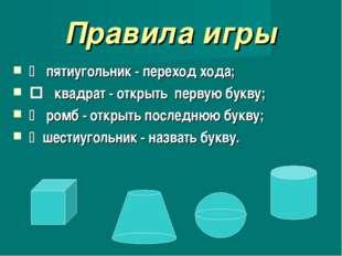 Правила игры  пятиугольник - переход хода;  квадрат - открыть первую букву;