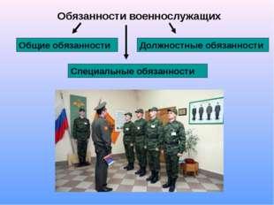 Обязанности военнослужащих Общие обязанности Должностные обязанности Специаль
