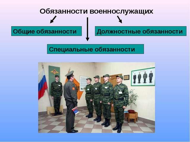 Обязанности военнослужащих Общие обязанности Должностные обязанности Специаль...