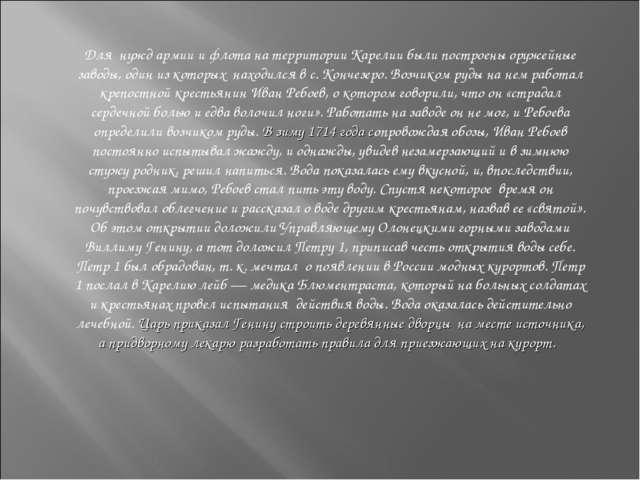 Для нужд армии и флота на территории Карелии были построены оружейные заводы...