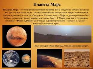Планета Марс - это четвертая по порядку планета. Из-за сходства с Землей пола