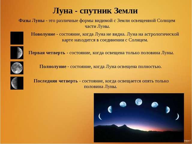 Луна - спутник Земли Фазы Луны- это различные формы видимой с Земли освещенн...