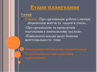 Етапи планування І етап Накази: «Про організацію роботи з питань збереження ж