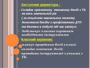 Заступник директора : - Складає орієнтовну тематику бесід з ТБ на весь навча