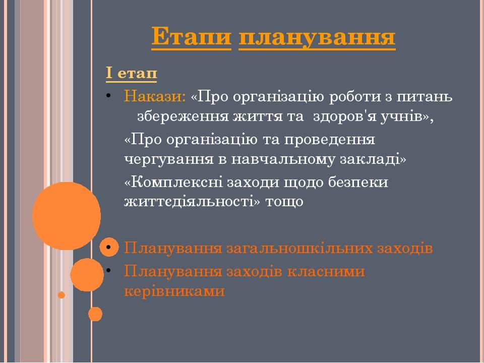 Етапи планування І етап Накази: «Про організацію роботи з питань збереження ж...