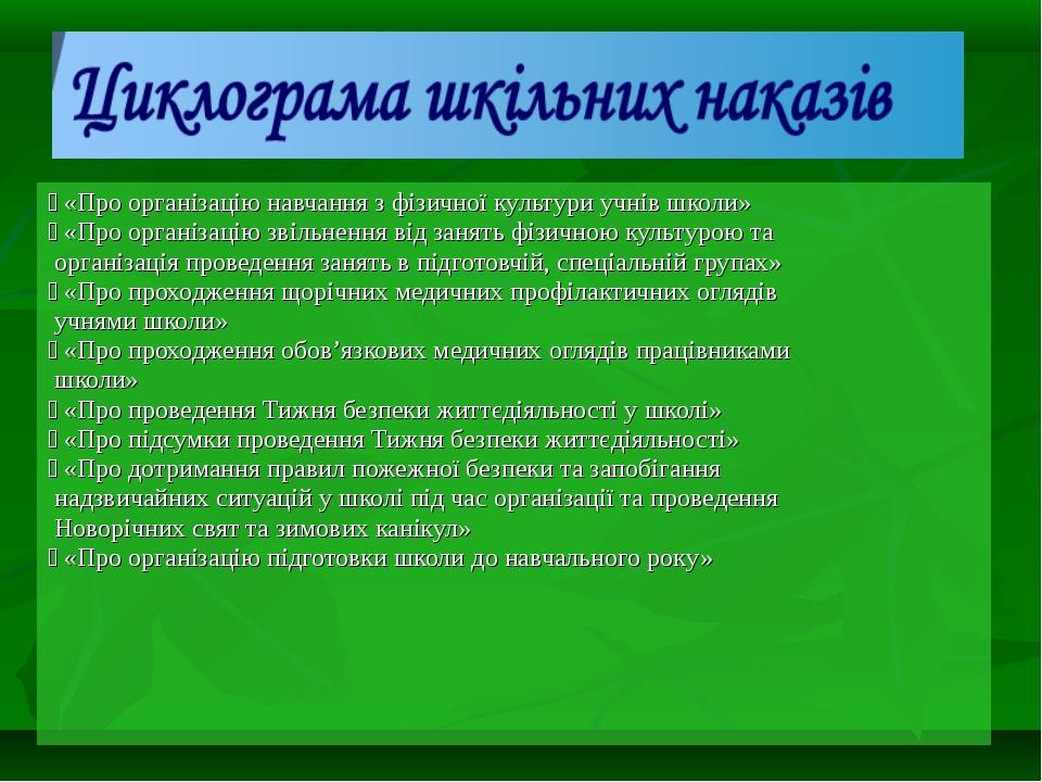  «Про організацію навчання з фізичної культури учнів школи»  «Про організац...